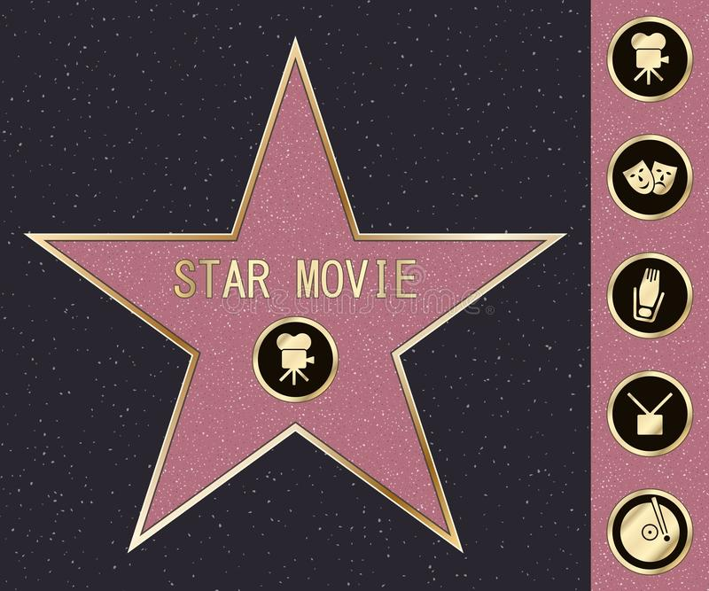 Hollywood walk of fame star on celebrity boulevard. Vector symbol star for iconic movie actor or famous actress template vector illustration