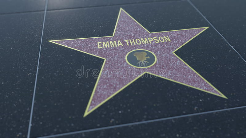 Hollywood Walk of Fame star with EMMA THOMPSON inscription. Editorial 3D rendering stock photography