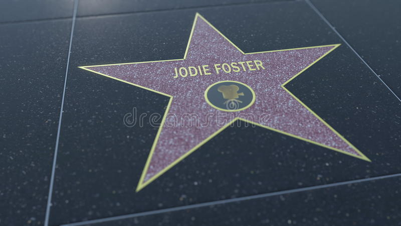 Hollywood Walk of Fame star with JODIE FOSTER inscription. Editorial 3D rendering stock photography