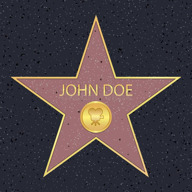 Hollywood walk of fame star for movie actor. Famous sidewalk with celebrity reward symbol. Vector. royalty free illustration