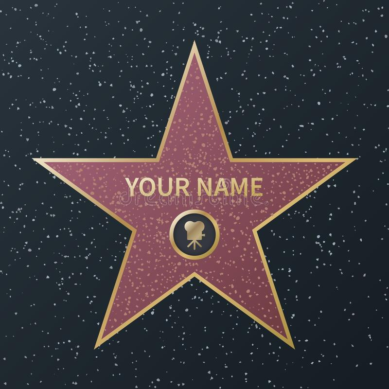 Hollywood walk of fame star. Movie celebrity boulevard oscar award, granite street stars for famous actors, success stock illustration