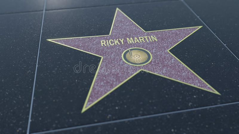 Hollywood Walk of Fame star with RICKY MARTIN inscription. Editorial 3D rendering stock illustration