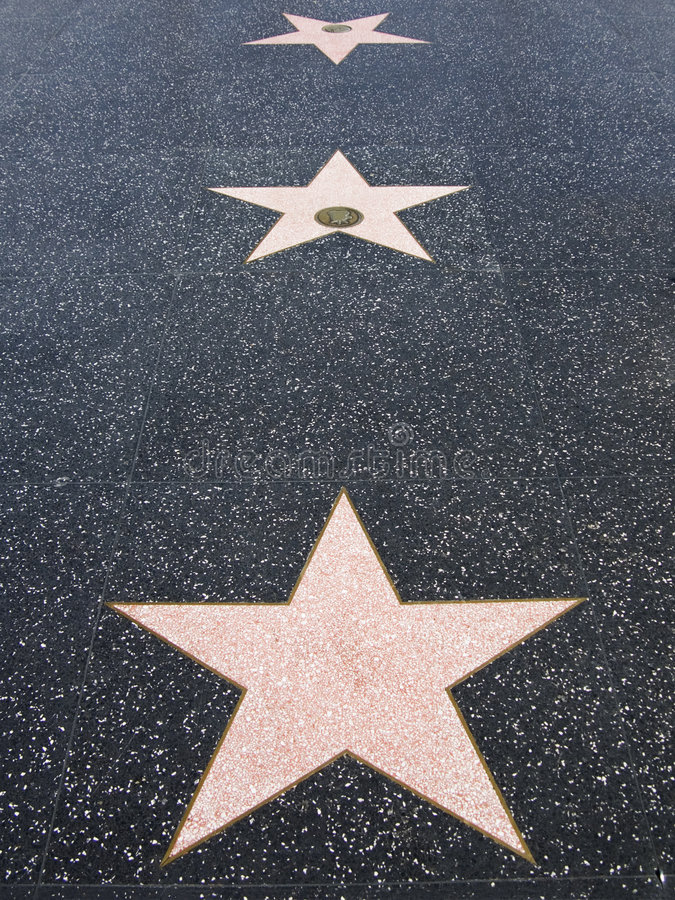 Hollywood Walk of Fame Stars. Stars in the sidewalk along the Hollywood walk of fame royalty free stock photo