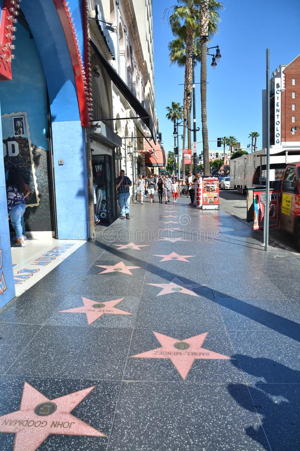 The Hollywood Walk of Fame stars in Los Angeles. LOS ANGELES, CA, USA - MARCH 27, 2018 : The Hollywood Walk of Fame stars in Los Angeles stock images