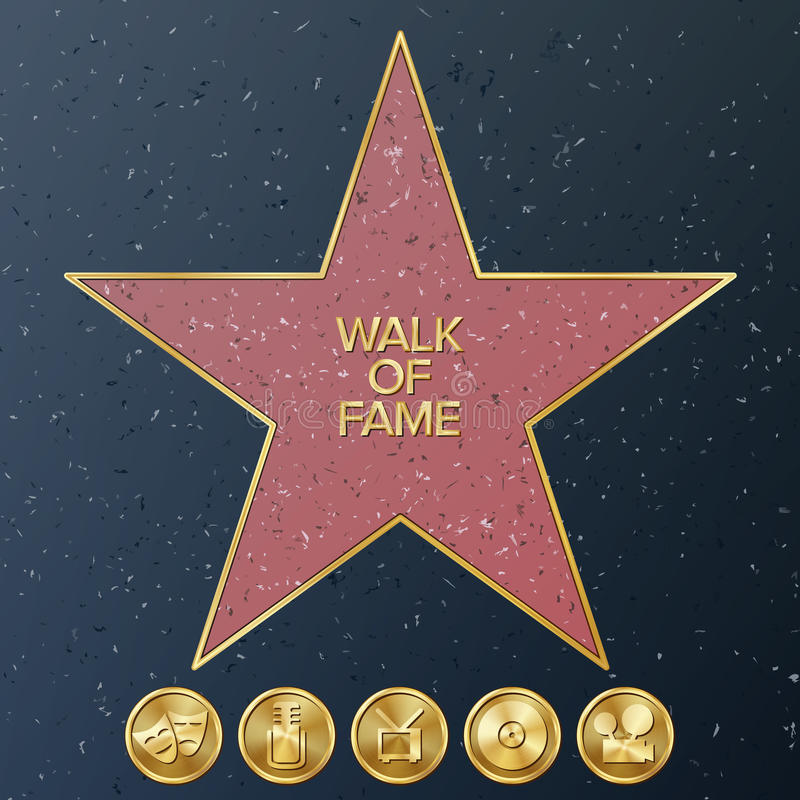 Hollywood Walk Of Fame. Vector Star Illustration. Famous Sidewalk Boulevard. royalty free illustration