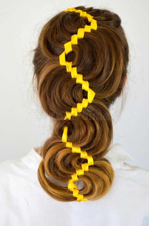 Hollywood Wave Hair Weave With Ribbon Stock Photo Image Of Long