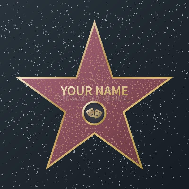 Hollywood-Weg des Ruhmsternes Filmberühmtenboulevard-Oscar-Preis, Granitstraßensterne von berühmten Schauspielern, Erfolgsfilme lizenzfreie abbildung