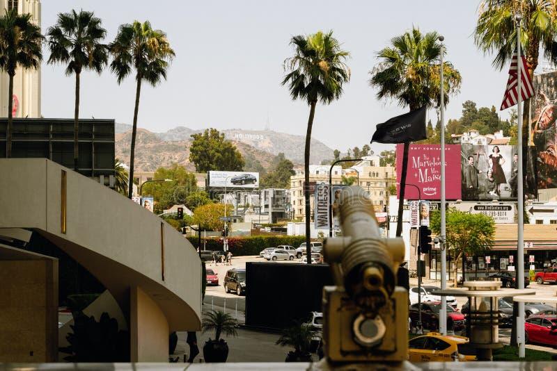 Hollywood wzgórza, ruch drogowy i pedestrians, Hollywood bulwar, Los Angeles zdjęcie royalty free