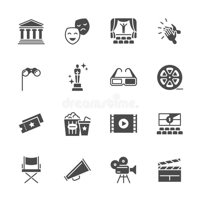 Hollywoodfilm, theaterprestaties en vermaak vectorpictogrammen stock illustratie