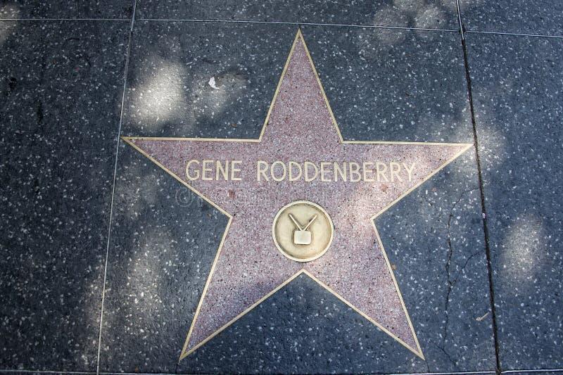 Hollywoodgang van de schepper van Bekendheidsgene rodenberry van Star Trek stock afbeelding