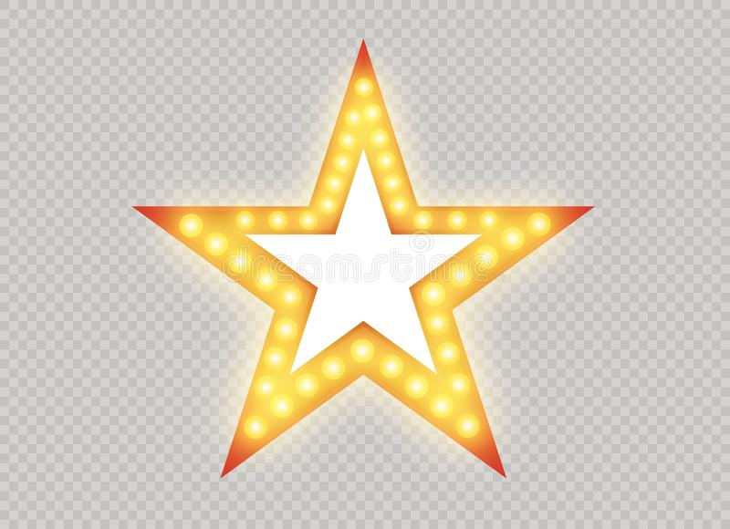 Hollywoodlichten Verlichte realistische die banner op transparante achtergrond wordt geïsoleerd De vector glanst koordbollen Las  royalty-vrije illustratie
