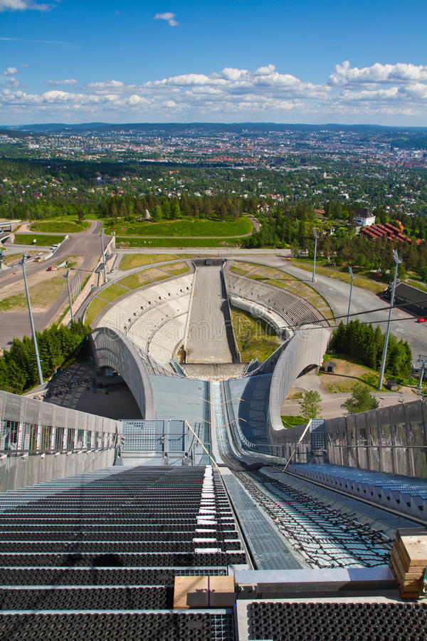 Holmenkollen ski jump in Oslo stock photo