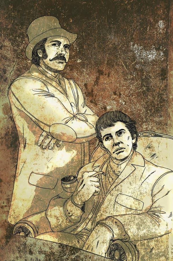 Holmes und Watson lizenzfreie abbildung
