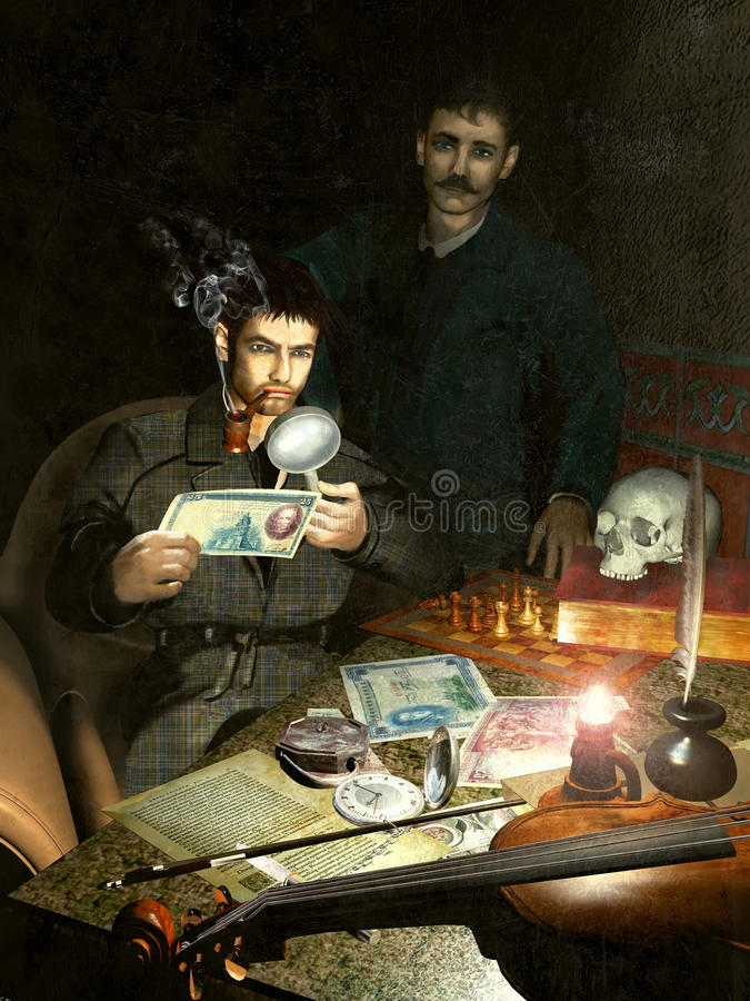 Download Holmes And Watson Investigating Stock Illustration - Image: 25619658