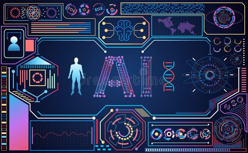 Holo colorido futurista del interfaz del hud del Ai del ui abstracto de la tecnología stock de ilustración