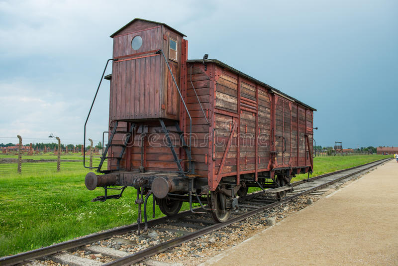 Holocaust Death Camp cattle car train. From Nazi Germany concentration camp Auschwitz-Birkenau stock photos
