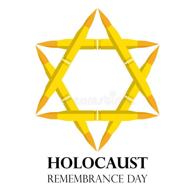 Holocaust-Erinnerungs-Tag am 5. Mai jüdischer Stern gemacht von den Gewehrkugeln, Illustration lizenzfreie abbildung