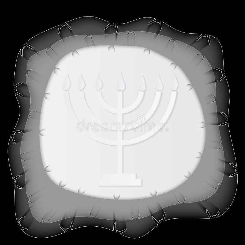 Holocaust-Erinnerungs-Tag, Papier-menorah Auch im corel abgehobenen Betrag vektor abbildung