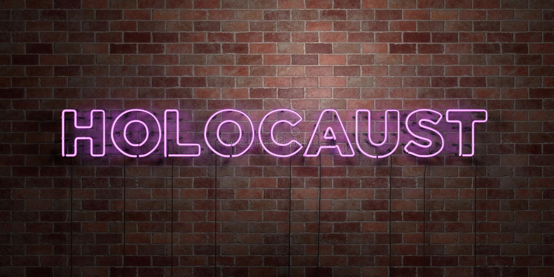 HOLOCAUST - Leuchtstoffneonröhre-Zeichen auf Maurerarbeit - Vorderansicht - 3D übertrug freies Bild der Abgabe auf Lager vektor abbildung