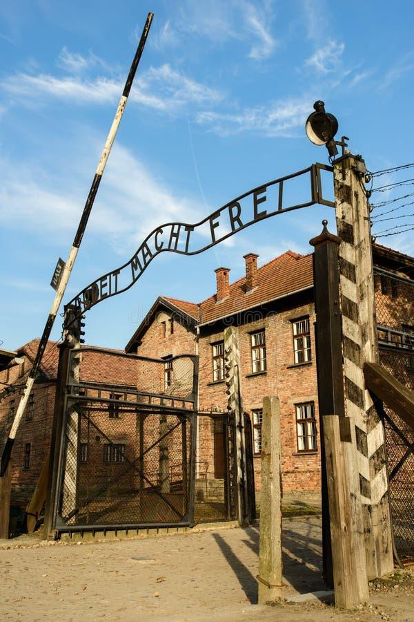 Holocaust Memorial Museum Auschwitz extermination camp near Krakow, Poland. AUSCHWITZ, POLAND - SEPT 27, 2017: Auschwitz Holocaust Memorial Museum. The main gate stock photos