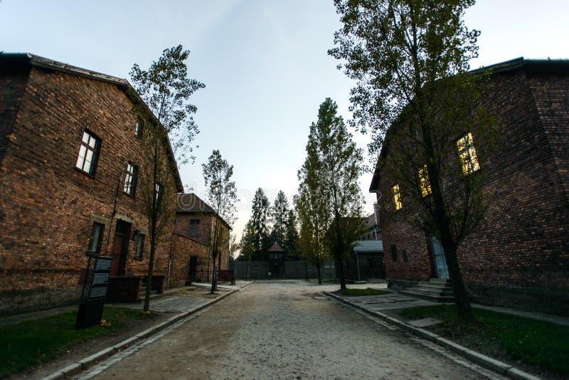 Holocaust Memorial Museum Auschwitz extermination camp near Krakow, Poland. AUSCHWITZ, POLAND - SEPT 27, 2017: Auschwitz Holocaust Memorial Museum. The main gate royalty free stock photography