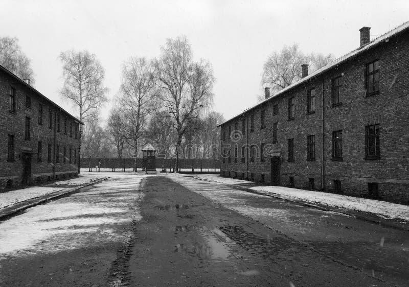 Holocausto Auschwitz memorável - Birkenau - Polônia no inverno imagem de stock royalty free