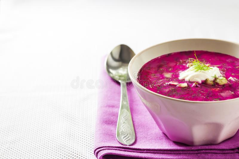 Holodnik - traditional Lithuanian Russian, Ukrainian, Belorussian, Polish cold beetroot soup. With cucumber, boiled eggs and greens in white bowl on purple royalty free stock photos