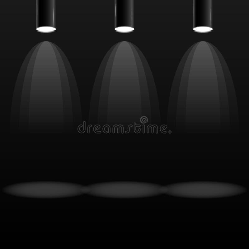 Holofote três bonde ilustração do vetor