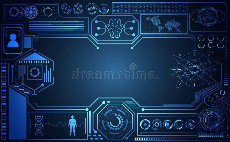 Holog futurista del interfaz del hud del Ai del concepto del ui abstracto de la tecnología ilustración del vector
