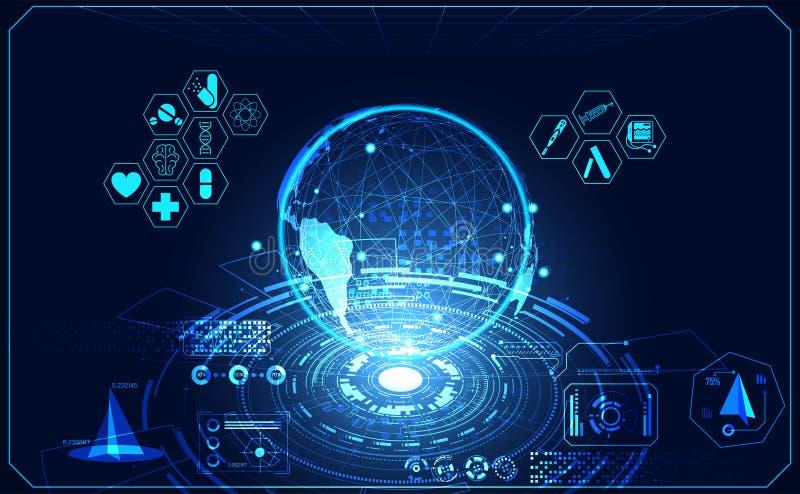 Hologr futuristico dell'interfaccia del hud di salute di ui medico astratto del mondo illustrazione di stock