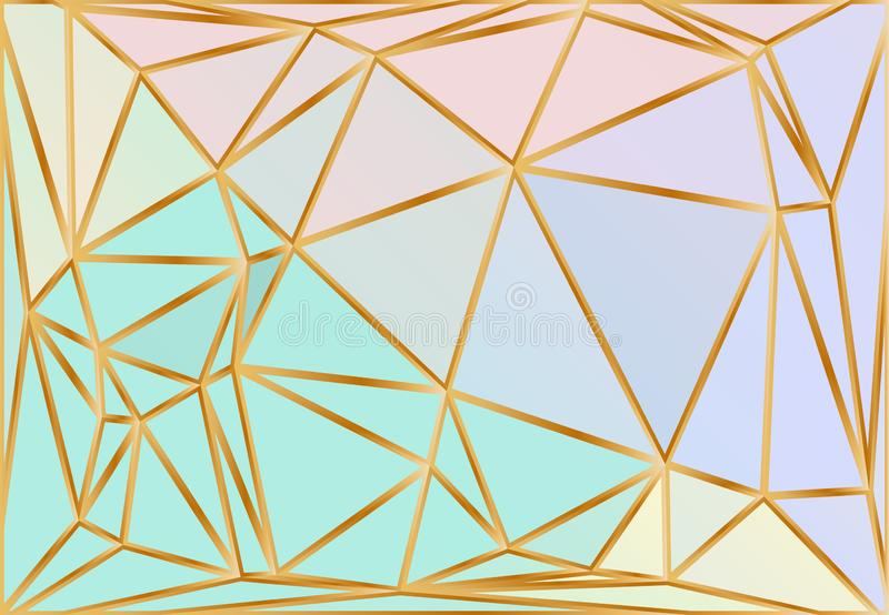 Holograficzny Gradientowy trójboka wektoru wzór Iryzuje Iskrzastego Poligonalnego tło Fantazji błękit, menchia, Aqua purpury ilustracji