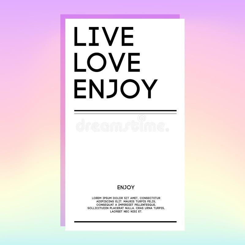 Holografisch ontwerpmalplaatje voor banner, dekking, vlieger, brochure, behang, uitnodigingskaart, affiche leef Liefde enjoy stock illustratie