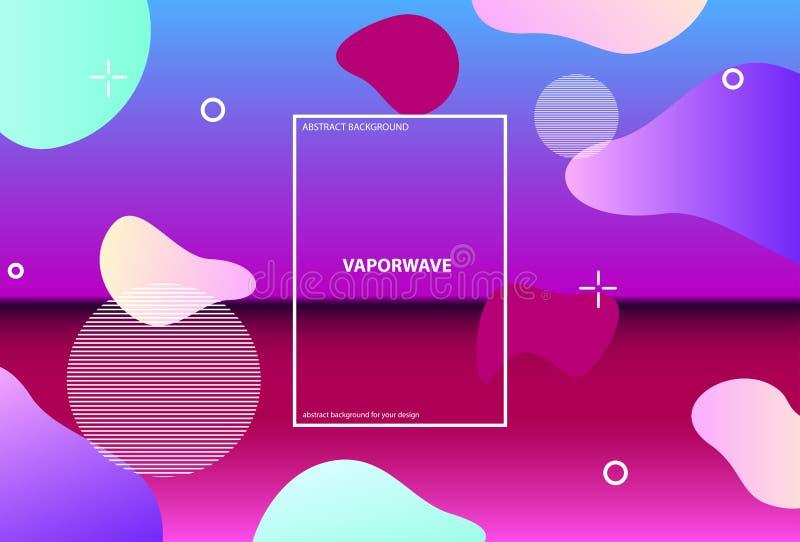 Holografische achtergrond met verschillende geometrisch Vloeibare golf Synthwave Vaporwave Retrowave Vector vector illustratie