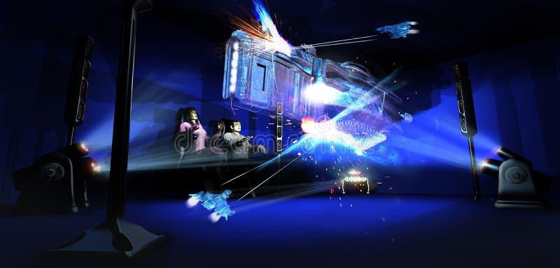 Holografische bioskoop vector illustratie