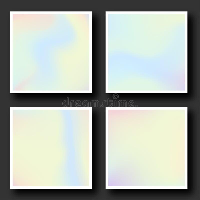 Holografische die achtergrond in de jaren '80 wordt geplaatst - jaren '90stijl Trillende hologramkaders met gradiënt in pastelkle stock illustratie