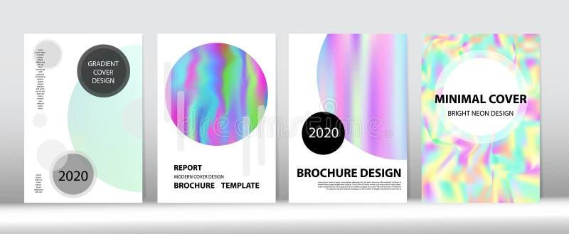 Holografischer Gradient Vector Hintergrund Rainbow Magazine Print Template lizenzfreie abbildung