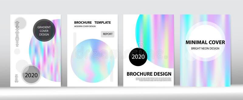 Holografischer Gradient Vector Hintergrund Rainbow Magazine Print Template stock abbildung