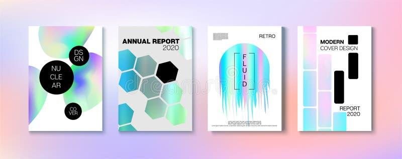 Holografischer Gradient Vector Hintergrund Rainbow Magazine Print Template vektor abbildung