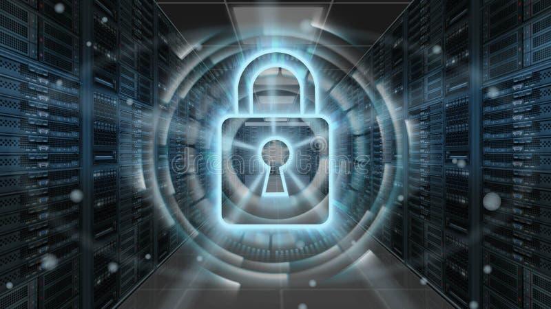 Hologram безопасностью цифров с padlock на комнате сервера - безопасность кибер или предохранение от сети - перевод 3D иллюстрация штока