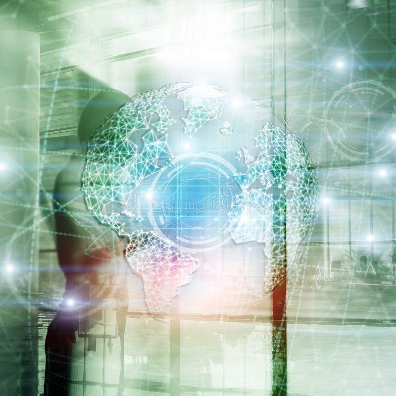 hologram, глобус, WWW, глобальный бизнес и радиосвязь земли 3D стоковые фотографии rf