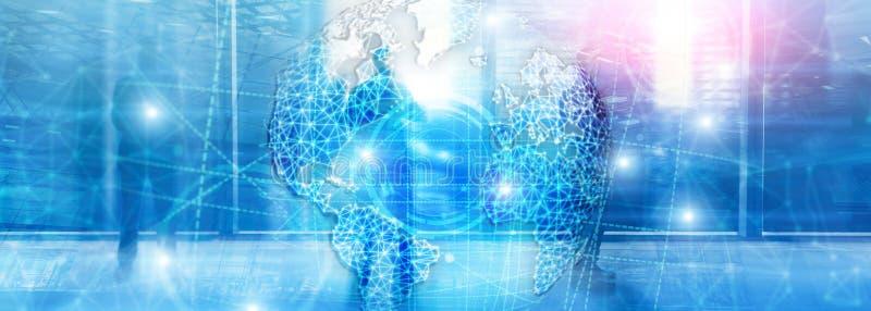 hologram, глобус, WWW, глобальный бизнес и радиосвязь земли 3D стоковая фотография