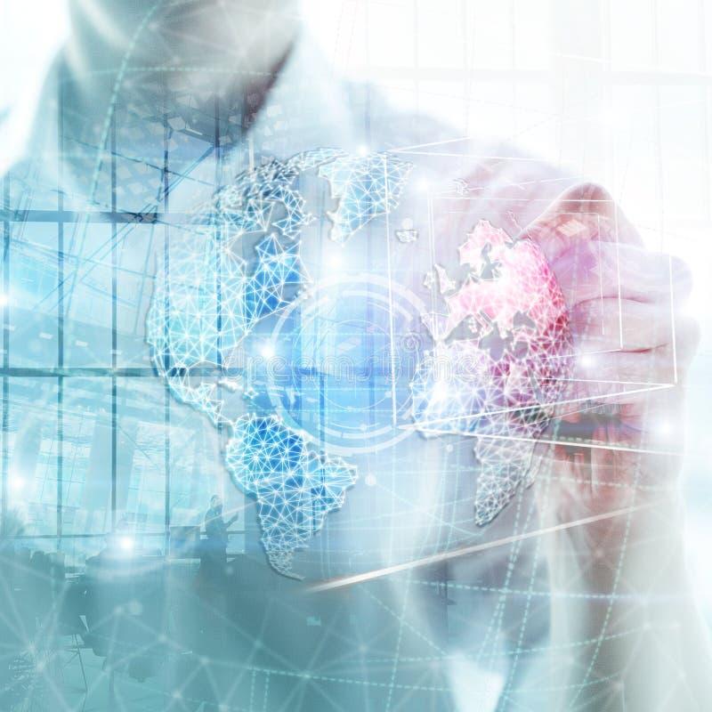 hologram, глобус, WWW, глобальный бизнес и радиосвязь земли 3D стоковая фотография rf