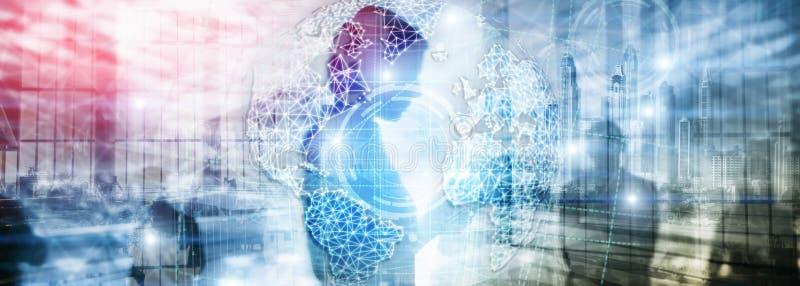 hologram, глобус, WWW, глобальный бизнес и радиосвязь земли 3D стоковое фото rf