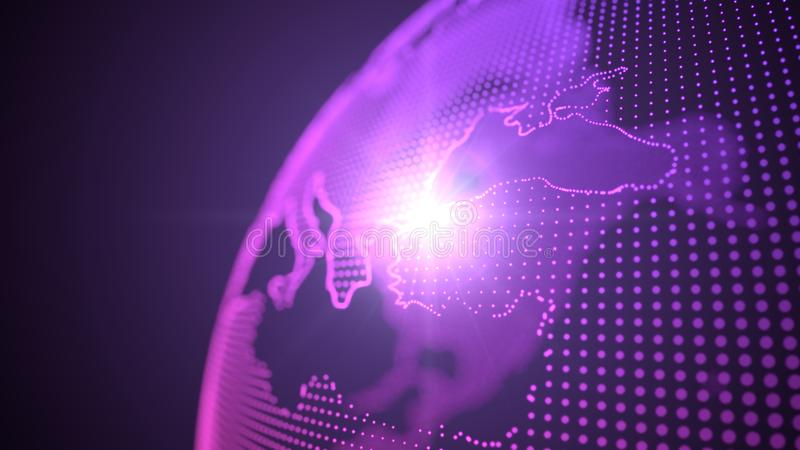 Hologram стиля точки фиолетовый континентов земли сфокусированный на индюке, иллюстрация 3d иллюстрация вектора