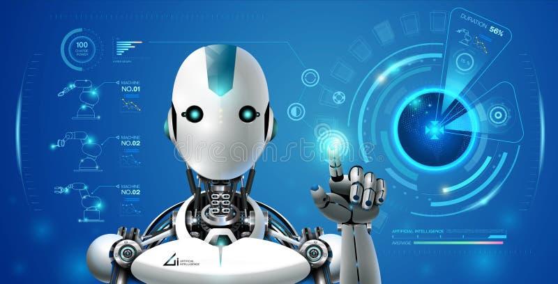 Hologram технологии искусственного интеллекта робота умный lerning иллюстрация штока