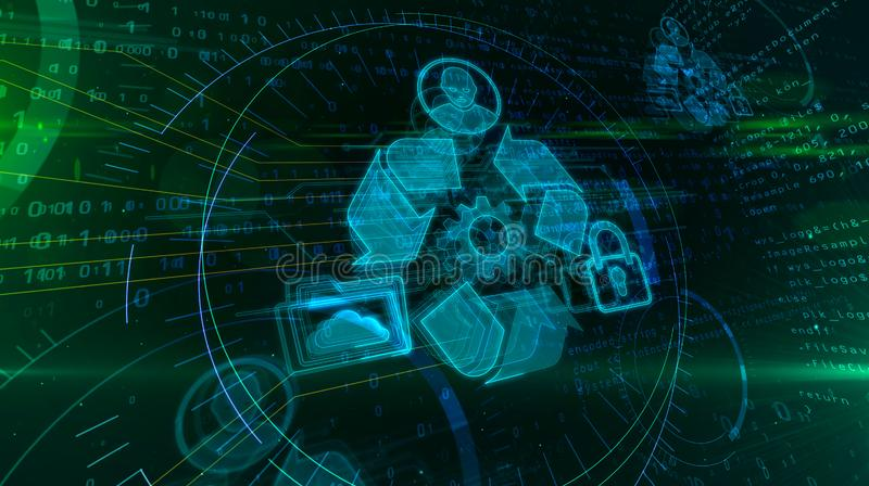 Hologram управления данными иллюстрация вектора