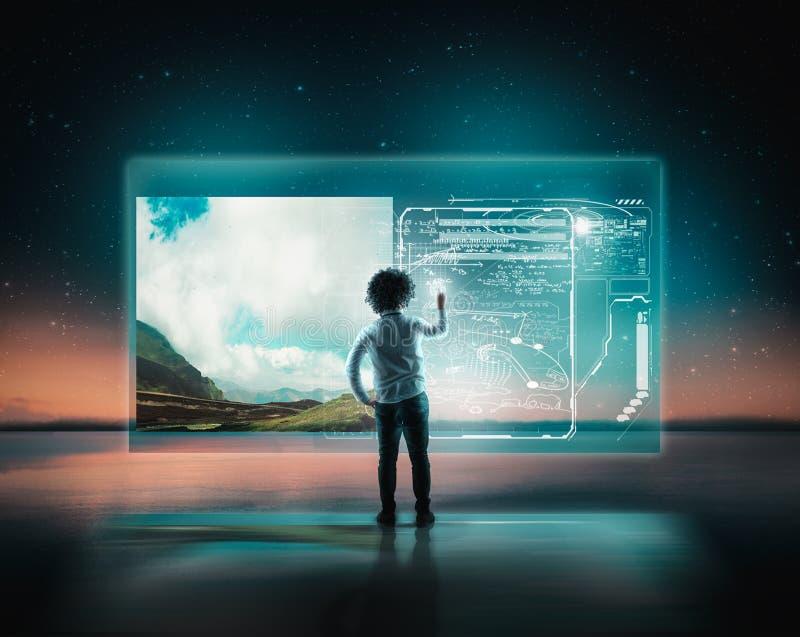 Hologram of digital screen stock photography
