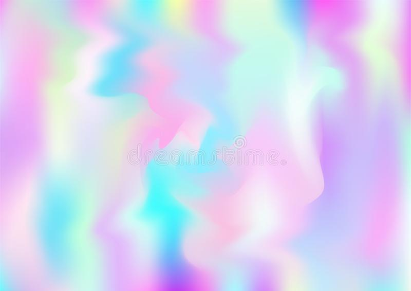 Hologram Magic Dreamy Vector Background. Rainbow Girlie Iridescent Gradient, Holographic Fluid Poster Wallpaper Bright Pearlescent royalty free stock photo
