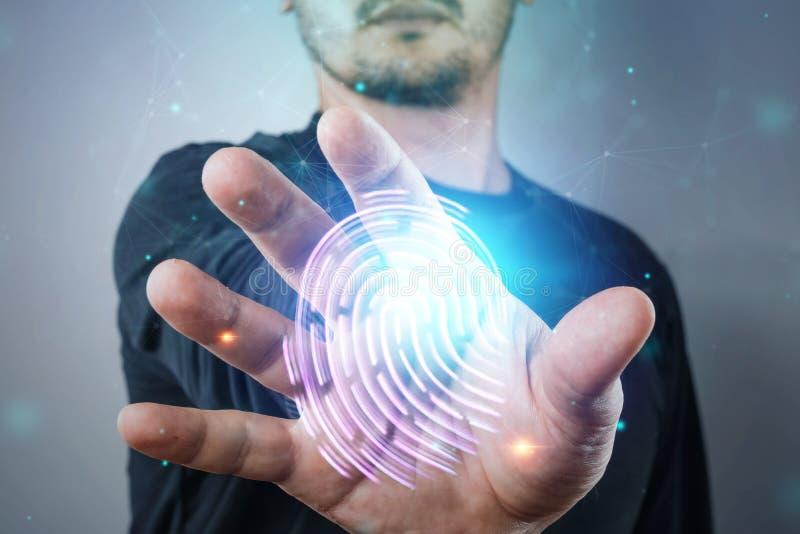 Hologram fingerprint, male hand scanning fingerprints. concept of fingerprint, biometrics, information technology and cyber stock photos