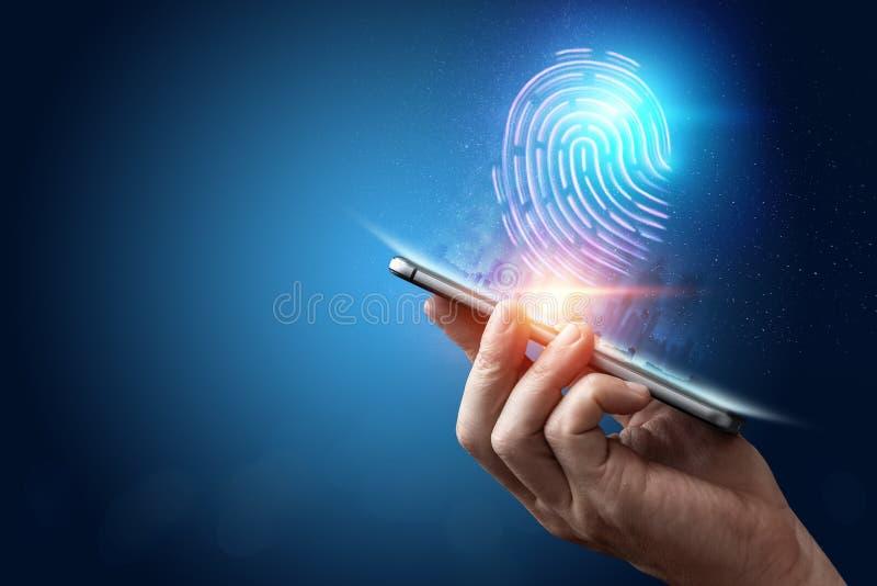 Hologram fingerprint, fingerprint scan on a smartphone, blue background, ultraviolet. concept of fingerprint, biometrics, stock images